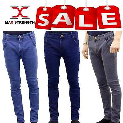 Mens Jeans Denim Pants Boys Skinny Trousers Regular & Slim Fit Waist Sizes 24-36