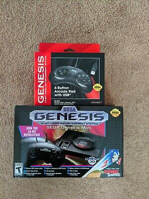 SEGA GENESIS MINI By SEGA Game Console  + USB 6 Button Controller!! Brand NEW