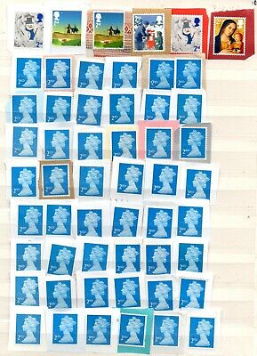 20) 100 GB 2nd Class Stamps Unfranked On Paper As Shown FV £61.00
