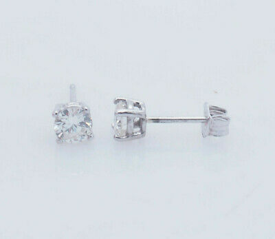14K White Gold 0.45ctw G-VS2 Round Cut Natural Diamond Solitaire Stud Earrings