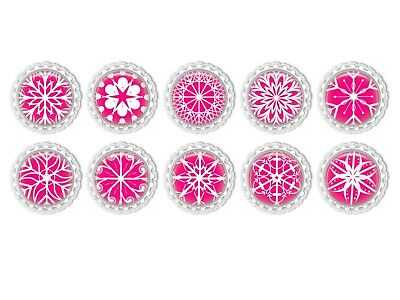 Pink And White Snowflakes Flattened  Bottle Caps 1inch