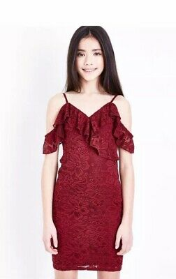 New Look - 915 Girls Burgundy Lace Cold Shoulder Dress - Age 9 Years - BNWT