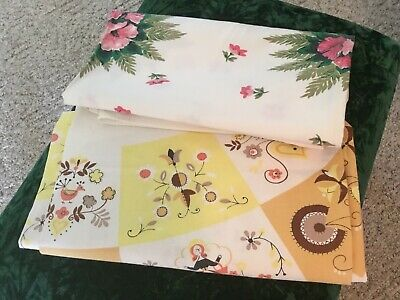 Vintage Floral Dutch Pink Yellow Tablecloths Cutter Lot Of 2