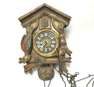Antique Vintage Black Forest Cuckoo Clock Hunting Theme Gun Rifle Rabbit
