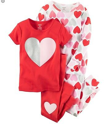Carters Girls 12 Month Red Heart Valentine's Day Pajamas PJs Set of 2 Pairs NWT