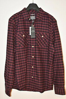 Mens Fat Face Maroon Black Check Gingham Classic Fit Long Sleeve Shirt Large L