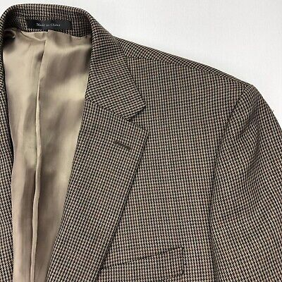 Ralph Lauren Men's Brown Houndstooth 2-Button Blazer 100% Wool • 46 Regular