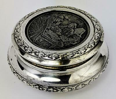 FRENCH ANTIQUE SILVER PLATE ETCHED TOP TRINKET BOX c1920