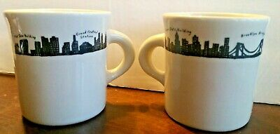 Fishs Eddy New York City Skyline Mugs Pair Of Two Coffee Tea Diner Mugs 212 sky