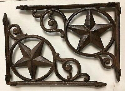 SET OF 2 WESTERN STAR SHELF BRACKET/BRACE, Antique Rustic Brown patina cast iron
