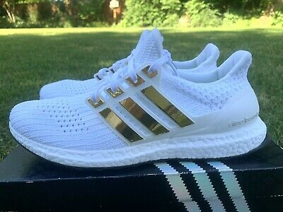 ADIDAS ULTRA BOOST 4.0 White Mens Sz 11 BB6168 Gold Chrome Stripes NOT AUTHENTIC