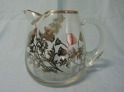 """Tiffin Silver Overlay Glass Crystal Pitcher With Ice Lip Floral Design 6"""""""