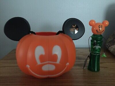Disney Parks Mickey Mouse Pumpkin Light Up Bucket Trick Or Treat Halloween 2019