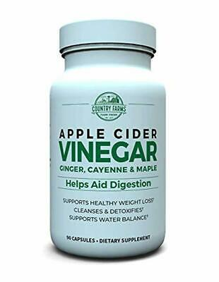 Country Farms Apple Cider Vinegar Capsules, with Ginger, Cayenne and Maple, 90 s