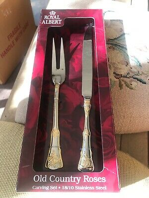 Royal Albert Old Country Roses CARVING SET-Gold Accents