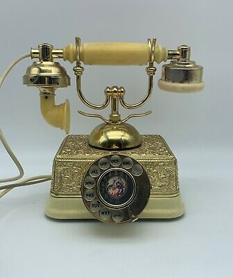 Vintage French Style Ornate Gold Phone Old Fashioned Rotary Dial Telephone 2.C4