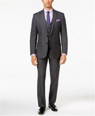 Kenneth Cole Reaction 2 Piece Gray Tonal Shadow Check Slim-fit Suit 38S 31W New