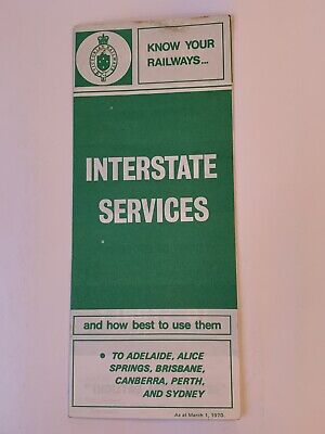 Victorian Railways Interstate Services Pamphlet March 1970 (good condition)