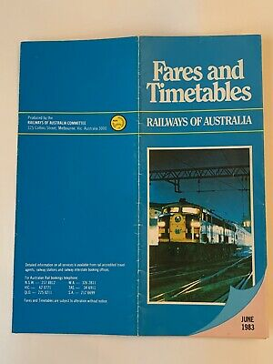 Railways Of Australia Fares & Timetables Brochure June 1983 very good condition