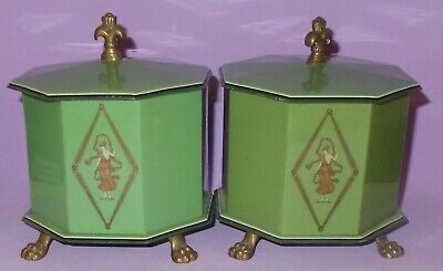 Vintage Pair Green Celluoid Art Deco Style Powder Boxes Metal Feet & Finials 4.5