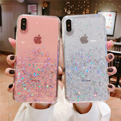 Bling Glitter Clear Case Gel Soft Phone Case Cover For iPhone 7 Plus 8 XR XS Max