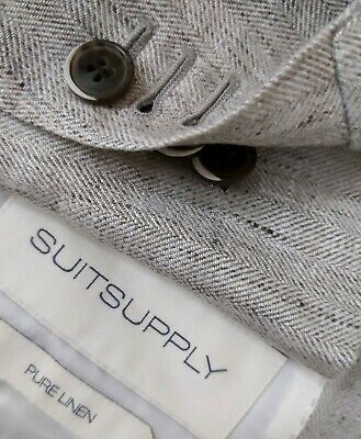 SUITSUPPLY Havana Unlined 2 Piece Slub IRISH LINEN Blazer Jacket 36S Pants 30x26