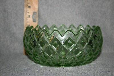 Jeanette Cube Green Depression Glass Candy Nut Bowl Diamond Cut 3 Inches