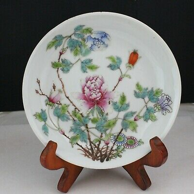 Antique Chinese Flower Porcelain small dish / plate