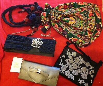 Bundle Bags Handbags Embroidered Beads Diamante and Grey Purse Wallet