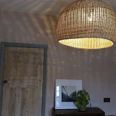 XL Large Vintage Basket Rattan Pendant Ceiling Light Shade Rustic French Farm