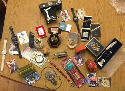 Junk Drawer Lot Lighters Watches Pen Baseball Cards Photo Camera Vintage Jewelry