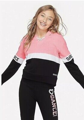 Nwt Justice Girls Dance Sports Colorblock Hoodie Size 8
