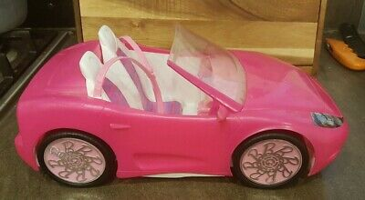 "BARBIE Shocking Pink 13"" GLAM CONVERTIBLE AUTO Mattel 2010 Sports Car Toy Used"