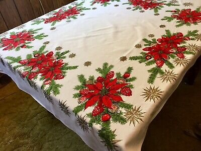 Vintage Colorful White~Red Poinsettia Pattern Fabric CHRISTMAS Tablecloth, # 19