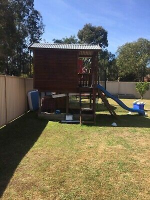 Cubby house- double story. Sand box, slippery slide