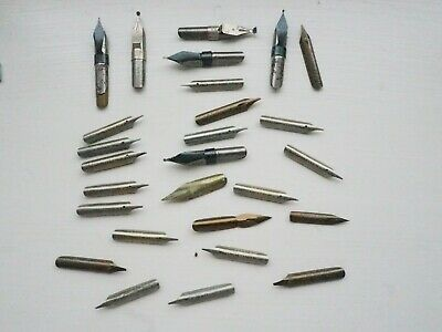 Collection of 36 mixed pen nibs - dipping and fountain pen