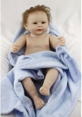 18inch 47cm Reborn Dolls Soft Silicone Real Newborn Baby Boy With Blue Blanket