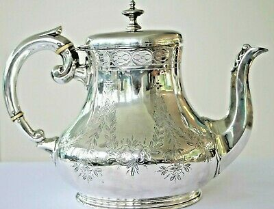Antique silver plated bright cut pattern victorian teapot circa 1890