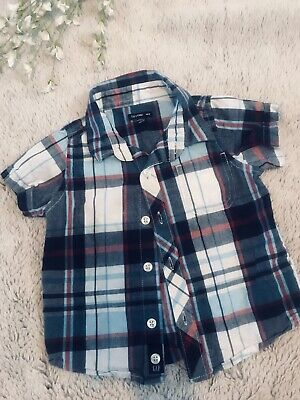 Baby Gap Boy Collared Plaid Shirt Short Sleeve Button Down 12-18 Months
