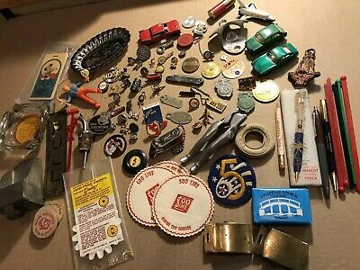 Vintage Junk Drawer Collectibles Lot Advertising Toys Keychains Pins Etc