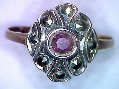 Beautiful Art Deco 9Ct Gold, Amethyst & Marcasite Ring Size K 1/2