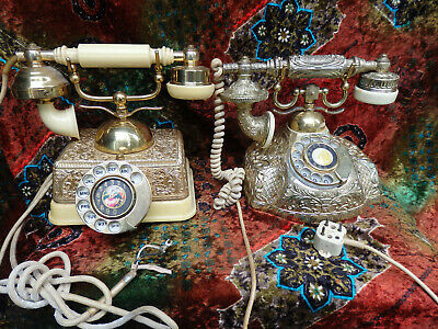 Two Vintage French Style Rotary Dial Telephone