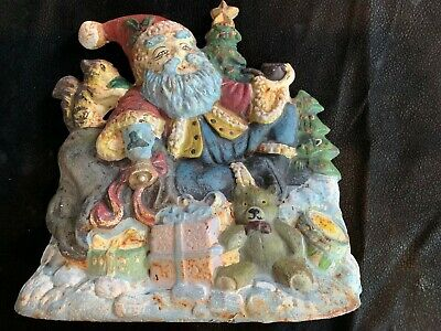 Old Cast Iron Door Stop Christmas Santa With Pipe Trees Presents Bear Squirrel