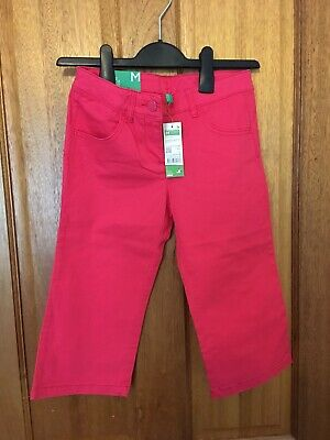 Girls Benetton Bright Pink Fuchsia Cropped Jeans Trousers Large 7-8 Years