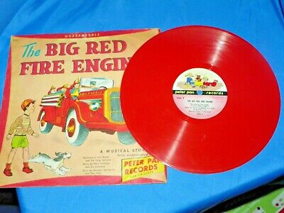 """1949 """" The Big Red Fire Engine """" Record with Cover by Peter Pan Records"""