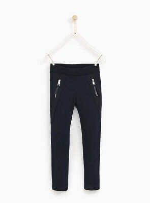 Zara Girls Ponte di Roma knit Blue Leggings with zip Trousers Age 10 Years/BNWT