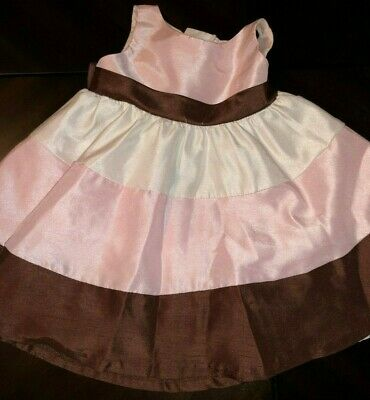 Baby Girls 12 Months Rare Editions White Brown Pink Stripe Dress Bow Layered Gor