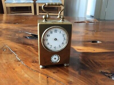 Antique French Sub Miniature Carriage Alarm Clock Aiguilles Reveille Brevete AFf
