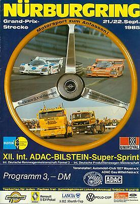 DTM Programm 1985 Bilstein Super Sprint Nürburgring Interserie VW Polo Corsa Cup