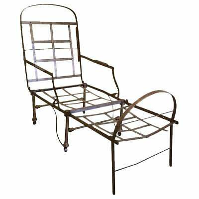 19th Century Industrial Steel and Brass Chaise Lounge Daybed